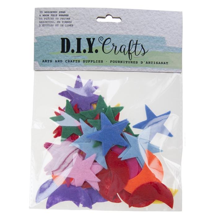 "DIY CRAFTS - 1 1/2"" FELT STAR AND MOON, 55PCS, ASST COLOURS"