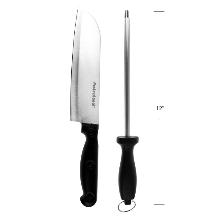 "PROFESSIONAL - 7"" CHEF KNIFE AND 7.5"" SHAPENER SET"