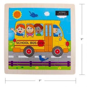 IPLAY - WOODEN PUZZLE, SCHOOL BUS