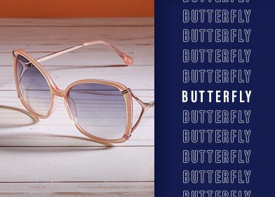 butterfly shaped prescription glasses and sunglasses