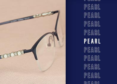pearl-accented eye glasses and sunglasses