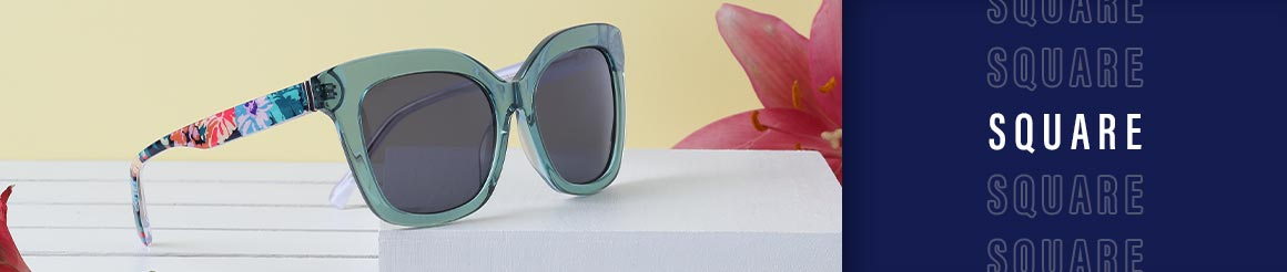square shaped eye glasses and sunglasses