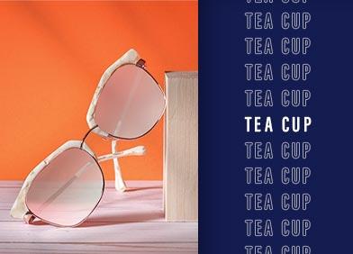tea cup shaped eye glasses and sunglasses