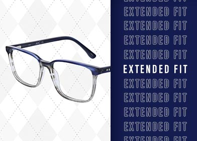 extended fit eye glasses and sunglasses