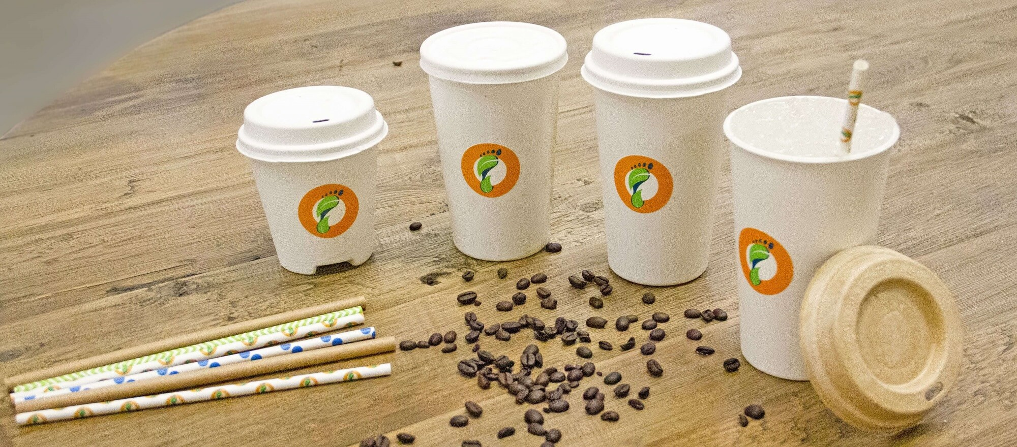 Footprints compostable straws, lids and cups