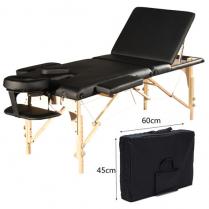 ORABI Wooden Portable Massage Bed (Black) w Adj Head and Leg
