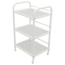 Salon Pro Beauty Trolley - 3 Tier with Glass Inlay - White
