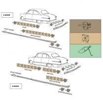 Body Trim Clip Kit - All except Crestliner, Wagon & Sedan Delivery