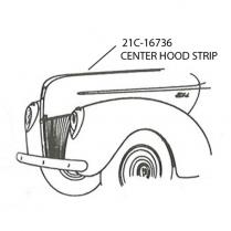 Center Hood Strip Stainless Molding