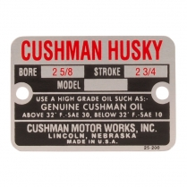 "Engine nameplate - 2 5/8"" Bore - 1949-58 Cushman Scooter"