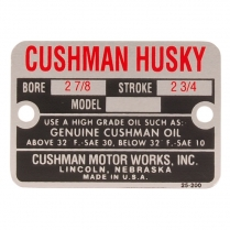 "Engine nameplate - 2  7/8"" Bore - 1949-58 Cushman Scooter"