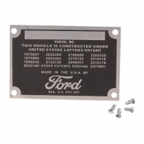 Patent Data Plate - 1948-52 Ford Truck, 1949-50 Ford Car
