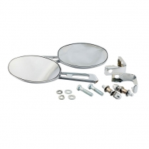 Oval Mirror Set - Includes Clamps - 1936-65 Cushman Scooter