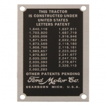 Patent Data Plate - 1939-47 Ford Tractor