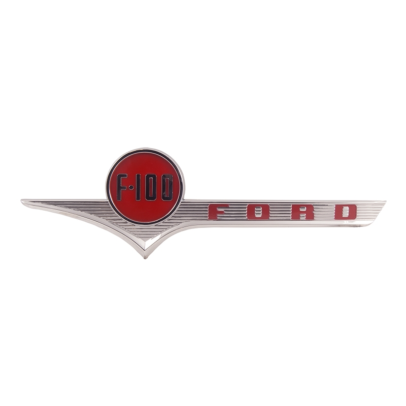"Hood Side Emblem - ""FORD F-100"" - Chrome w/ Red - 1956 Ford Truck"