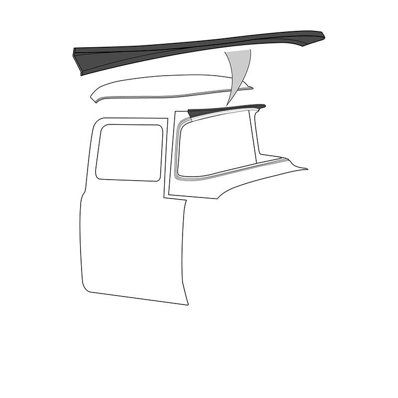 """Roof """"Beak"""" Filler Panel - Original Style - 1956 Ford Truck"""