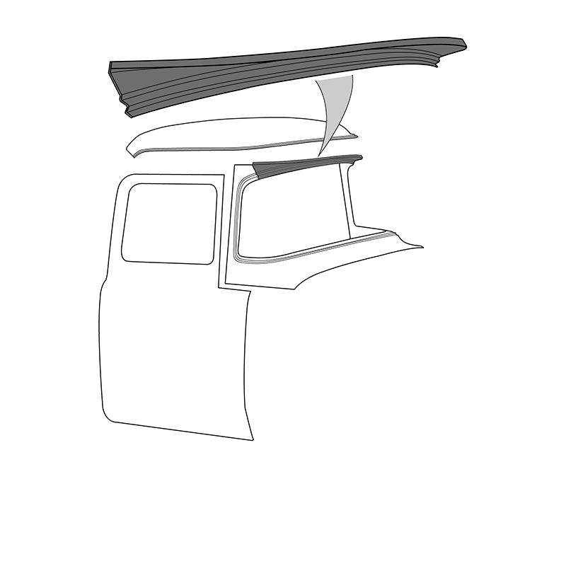 """Roof """"Beak"""" Filler Panel - Replacement Style - 1956 Ford Truck"""