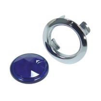 Glass Blue Dot w/Chrome Ring
