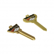 Key Blanks - Deluxe w/ Ford Crest - Pair - 1967-91 Ford Truck, 1978-89 Ford Bronco. 1965-77 Ford Car