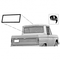 Back Glass Seal - Bronco - Half Cab - with Groove for Chrome - 1966-77 Ford Bronco
