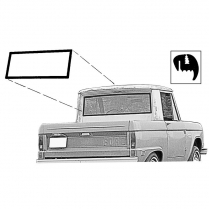 Back Glass Seal - Bronco - Half Cab - No Groove for Chrome - 1966-77 Ford Bronco