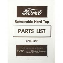 Book - Parts List - Retractable - 1957 Ford Car