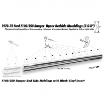 Pickup Upper Long Bed Molding - Black Insert