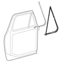 Vent Window Rubber Seals - Left Side - 1973-79 Ford Truck, 1978-79 Ford Bronco
