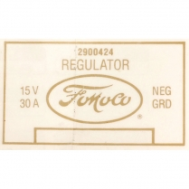 Decal - Voltage Regulator - 1958-60 Ford Truck, 1956-61 Ford Car