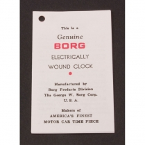 Pamphlet - Electric Clock Instructions - 1949-56 Ford Car