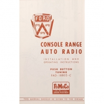 Pamphlet - Deluxe Radio Owners Manual - 1953 Ford Car