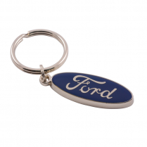 Blue Ford Script Key Chain - Metal