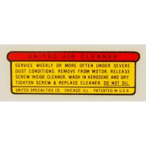 Air Cleaner Decal - Adhesive Sticker - 1946-58 Cushman Scooter