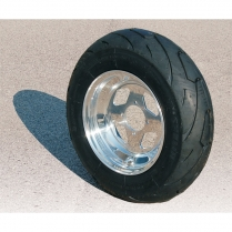 "Aluminum Wheel w/  Tire 10"" Diamond Cut - 1950-65 Cushman Scooter"