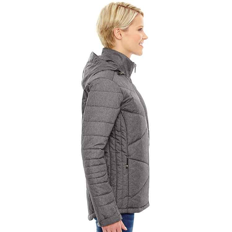 Ash City North End Sport Blue Ladies' Hooded Avant Tech Mélange Insulated Jacket with Heat Reflect Technology