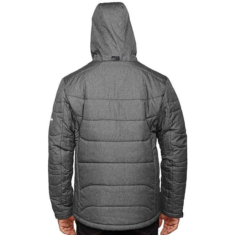 Ash City North End Sport Blue Men's Hooded Avant Tech Mélange Insulated Jacket with Heat Reflect Technology