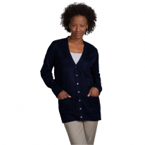 A+ Career Apparel Women's Fine Gauge 7-Button Tunic Length V-Neck Cardigan