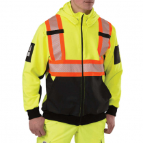 Big Bill High Visibility Zip-Front Hooded Sweatshirt With Reflective Material