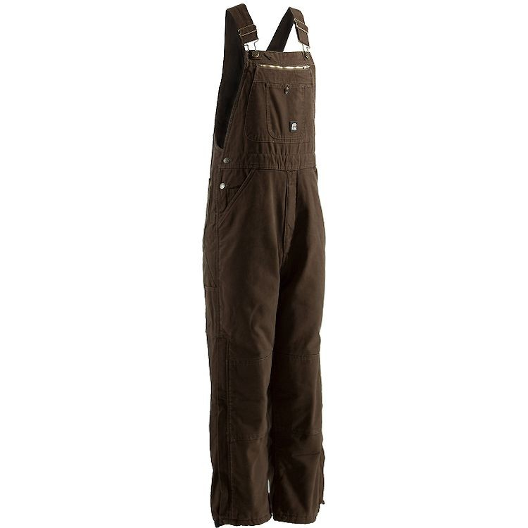 Berne Traditional Washed Insulated Bib Overall Quilt Lined Zip to Knee