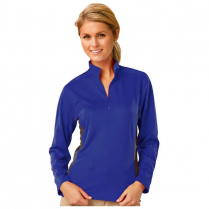 Blue Generation Ladies' Wicking Long Sleeve Contrasting Zip Athletic Pullover