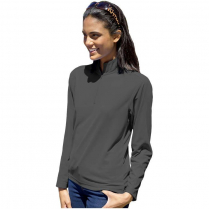 Blue Generation Ladies' Wicking Long Sleeve Solid Zip Athletic Pullover