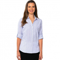 Blue Generation Ladies' Long Sleeve Stripe Untucked Shirt