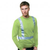 Bayside Hi-Vis 100% Cotton Long Sleeve Crew Tee Solid Striping