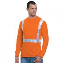 Bayside Hi-Vis 100% 6.1 oz. Cotton Long Sleeve Pocket Crew Tee Solid Striping