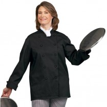 Fashion Seal Unisex Ten Black Button Premium Long Sleeve Chef Coat