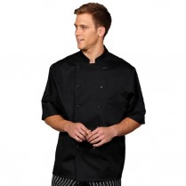 Fashion Seal Unisex Ten Black Button Premium Short Sleeve Chef Coat