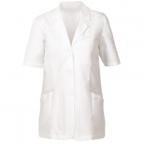 "Fashion Seal Ladies' Fine Line Twill 30 "" Short Sleeve Lab Coat - Stitched Down Back Belt"