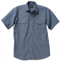 Key Pre-Washed Chambray Western Shirt, Short Sleeve