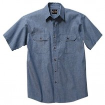 Key Pre-Washed Chambray Work Shirt, Short Sleeve