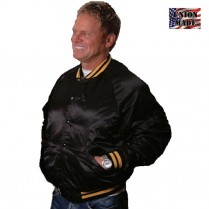 King Louie Pro Satin Quilt Lined Award Jacket with Striped Trim